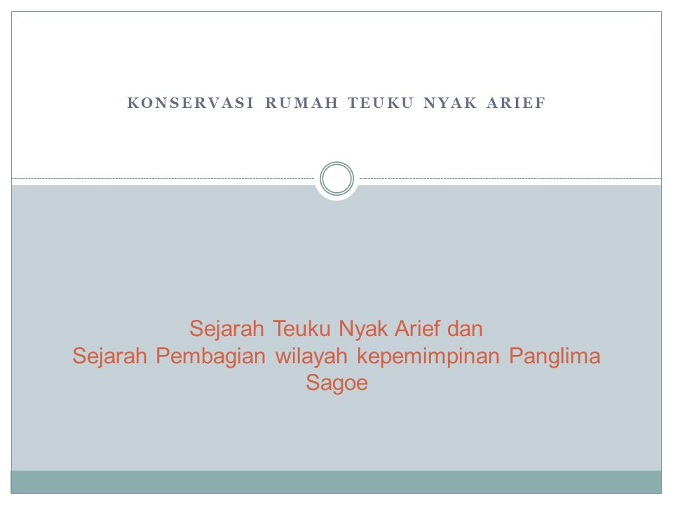 KONSERVASI RUMAH TEUKU NYAK ARIEF Sejarah Teuku Nyak Arief dan Sejarah Pembagian wilayah kepemimpinan Panglima Sagoe