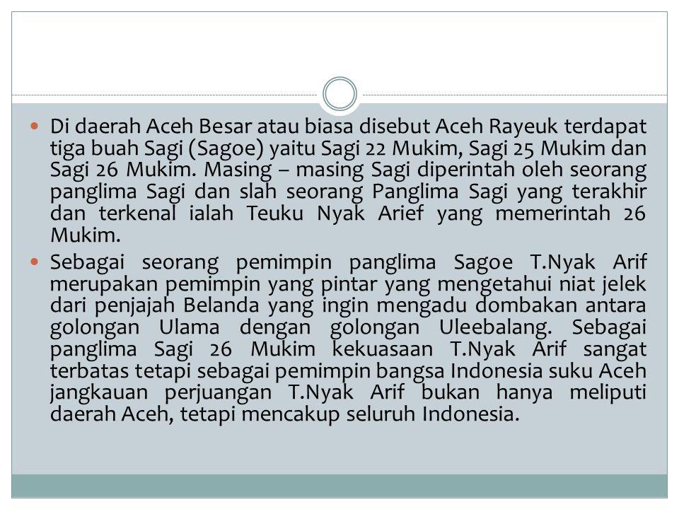 Di daerah Aceh Besar atau biasa disebut Aceh Rayeuk terdapat tiga buah Sagi (Sagoe) yaitu Sagi 22 Mukim, Sagi 25 Mukim dan Sagi 26 Mukim. Masing – mas