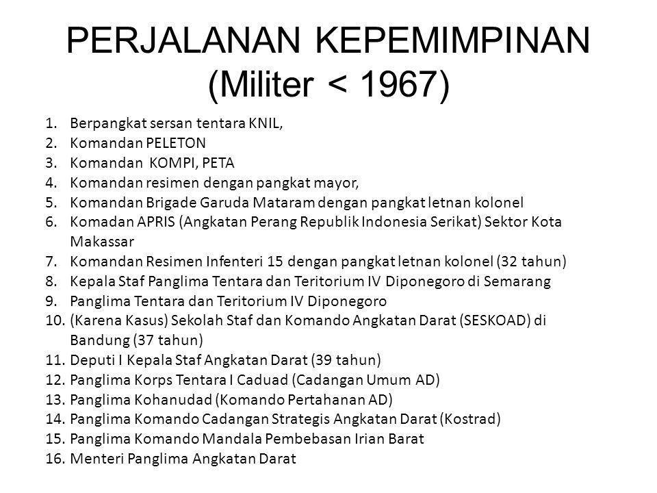 PERJALANAN KEPEMIMPINAN (Militer < 1967) 1.Berpangkat sersan tentara KNIL, 2.Komandan PELETON 3.Komandan KOMPI, PETA 4.Komandan resimen dengan pangkat mayor, 5.Komandan Brigade Garuda Mataram dengan pangkat letnan kolonel 6.Komadan APRIS (Angkatan Perang Republik Indonesia Serikat) Sektor Kota Makassar 7.Komandan Resimen Infenteri 15 dengan pangkat letnan kolonel (32 tahun) 8.Kepala Staf Panglima Tentara dan Teritorium IV Diponegoro di Semarang 9.Panglima Tentara dan Teritorium IV Diponegoro 10.(Karena Kasus) Sekolah Staf dan Komando Angkatan Darat (SESKOAD) di Bandung (37 tahun) 11.Deputi I Kepala Staf Angkatan Darat (39 tahun) 12.Panglima Korps Tentara I Caduad (Cadangan Umum AD) 13.Panglima Kohanudad (Komando Pertahanan AD) 14.Panglima Komando Cadangan Strategis Angkatan Darat (Kostrad) 15.Panglima Komando Mandala Pembebasan Irian Barat 16.Menteri Panglima Angkatan Darat
