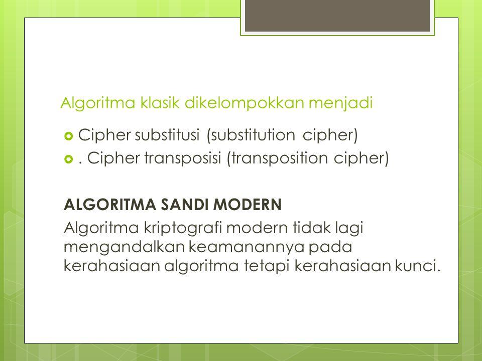 Algoritma klasik dikelompokkan menjadi  Cipher substitusi (substitution cipher) .