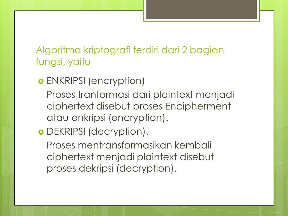 Algoritma kriptografi terdiri dari 2 bagian fungsi, yaitu  ENKRIPSI (encryption) Proses tranformasi dari plaintext menjadi ciphertext disebut proses Encipherment atau enkripsi (encryption).