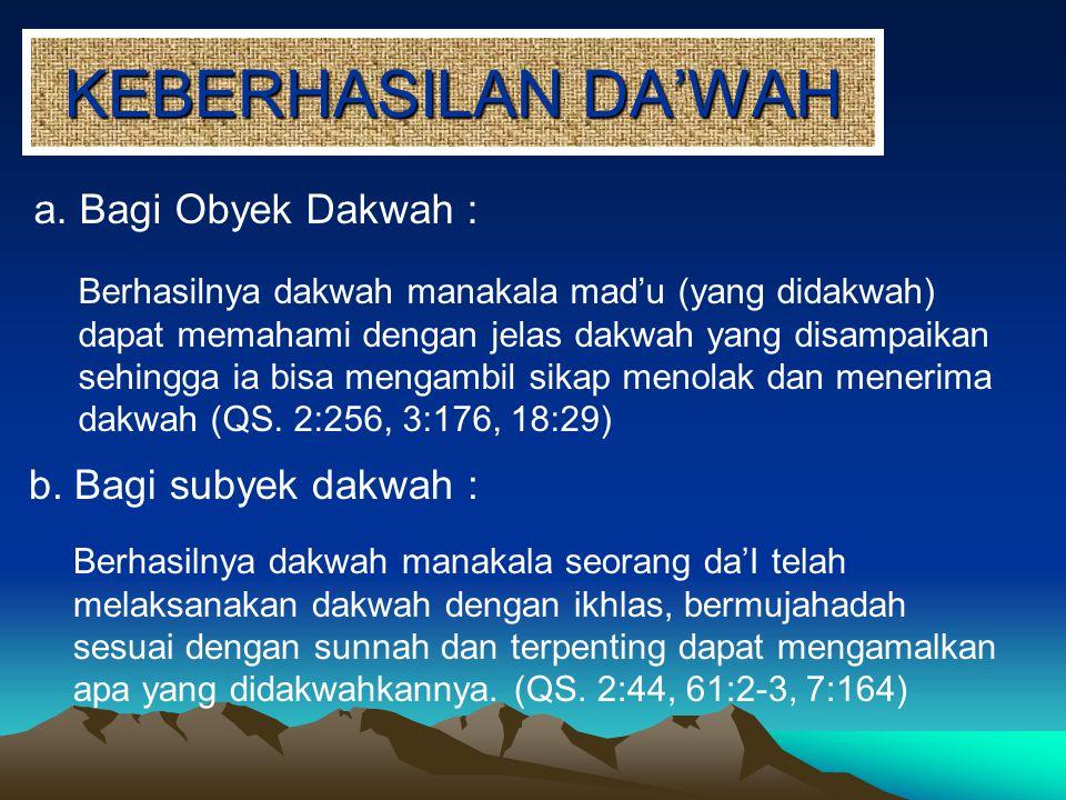 KEBERHASILAN DA'WAH a. Bagi Obyek Dakwah : Berhasilnya dakwah manakala mad'u (yang didakwah) dapat memahami dengan jelas dakwah yang disampaikan sehin