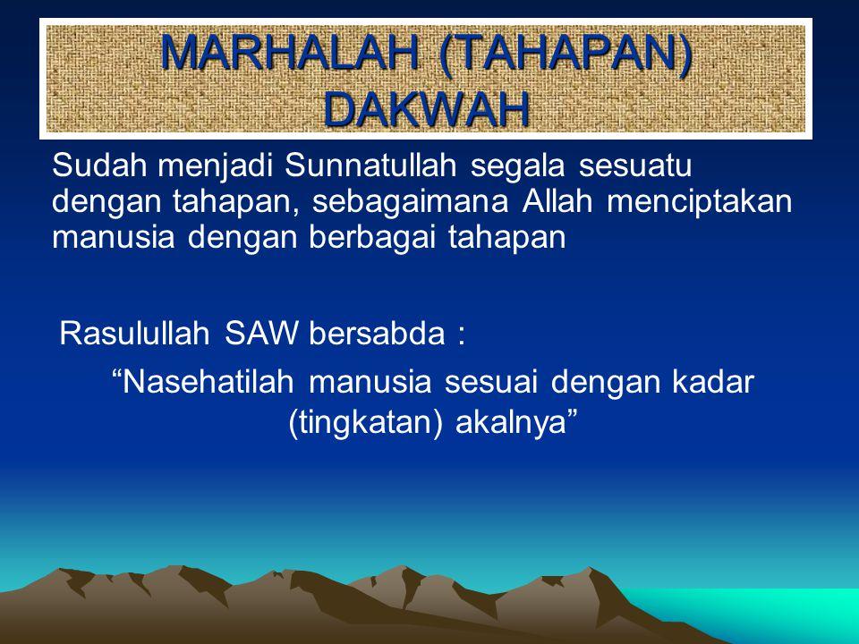 MARHALAH (TAHAPAN) DAKWAH Sudah menjadi Sunnatullah segala sesuatu dengan tahapan, sebagaimana Allah menciptakan manusia dengan berbagai tahapan Rasul