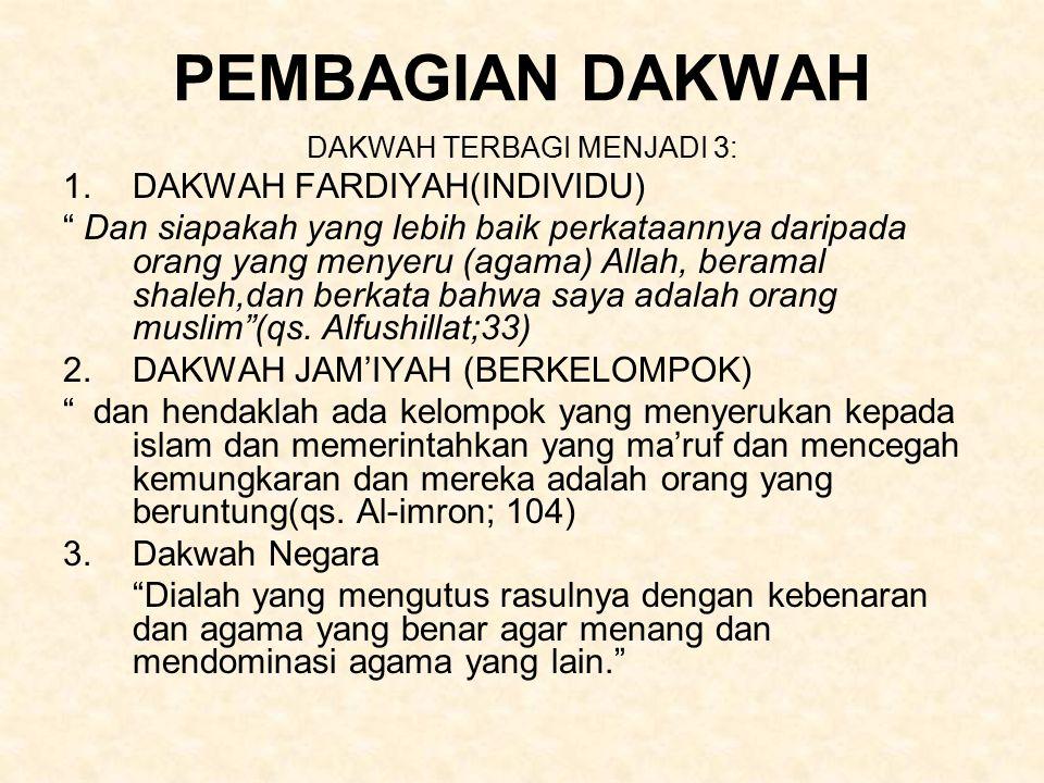 PEMBAGIAN DAKWAH DAKWAH TERBAGI MENJADI 3: 1.DAKWAH FARDIYAH(INDIVIDU) Dan siapakah yang lebih baik perkataannya daripada orang yang menyeru (agama) Allah, beramal shaleh,dan berkata bahwa saya adalah orang muslim (qs.