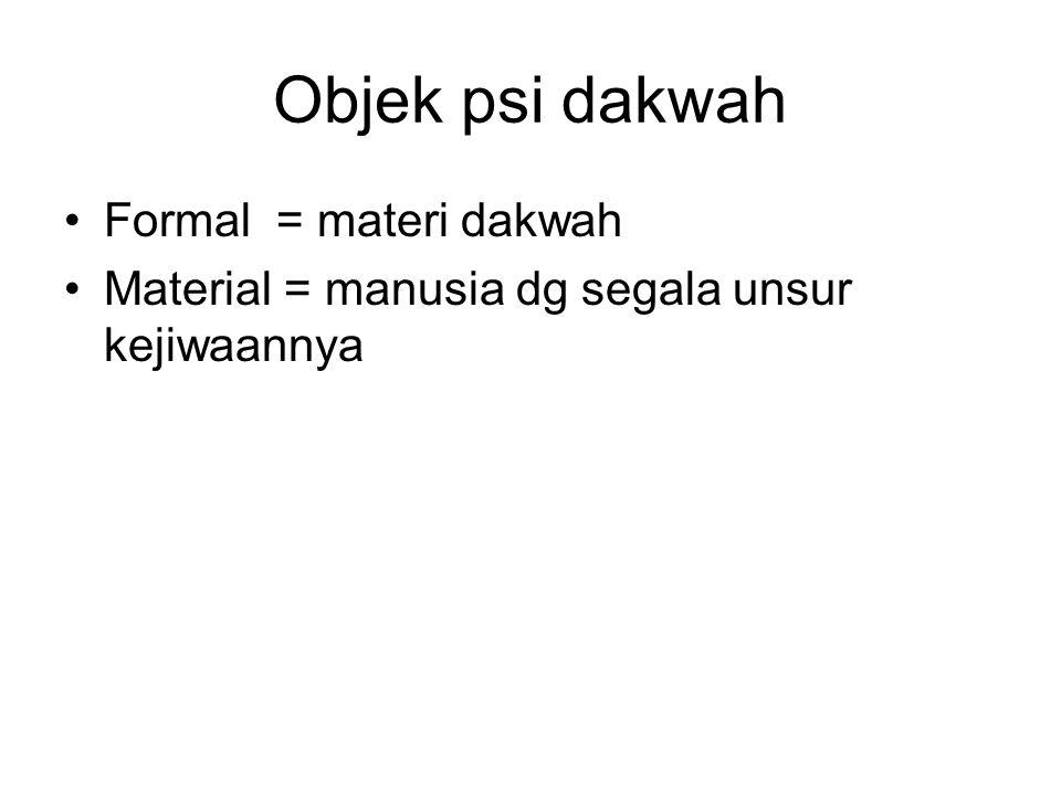 Objek psi dakwah Formal = materi dakwah Material = manusia dg segala unsur kejiwaannya