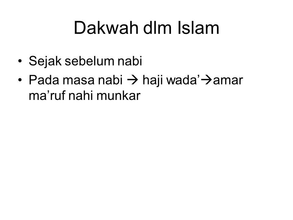 Dakwah dlm Islam Sejak sebelum nabi Pada masa nabi  haji wada'  amar ma'ruf nahi munkar