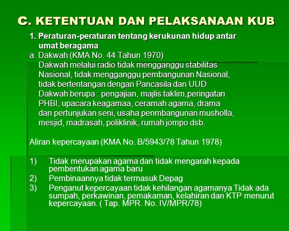 c. KETENTUAN DAN PELAKSANAAN KUB 1. Peraturan-peraturan tentang kerukunan hidup antar umat beragama umat beragama a. Dakwah (KMA No. 44 Tahun 1970) Da