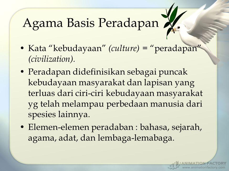 Agama Basis Peradapan Kata kebudayaan (culture) = peradapan (civilization).