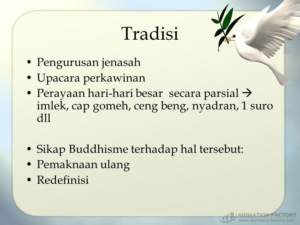 Tradisi Pengurusan jenasah Upacara perkawinan Perayaan hari-hari besar secara parsial  imlek, cap gomeh, ceng beng, nyadran, 1 suro dll Sikap Buddhisme terhadap hal tersebut: Pemaknaan ulang Redefinisi