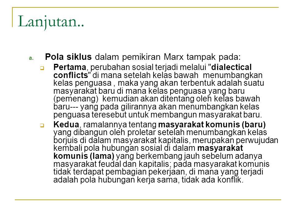 Lanjutan.. a. Pola siklus dalam pemikiran Marx tampak pada:  Pertama, perubahan sosial terjadi melalui