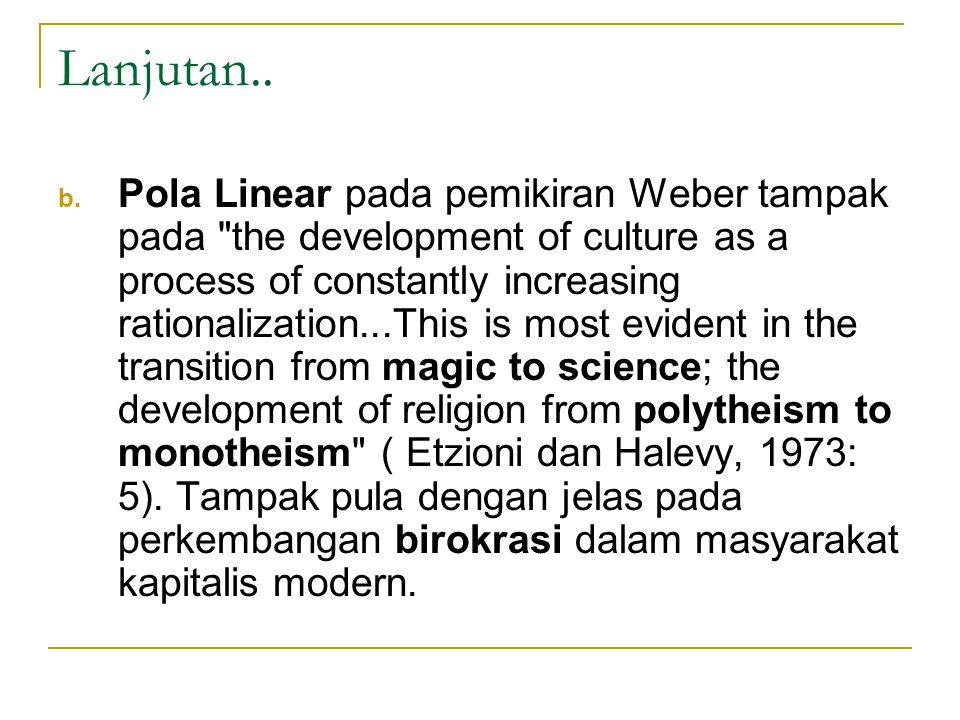Lanjutan.. b. Pola Linear pada pemikiran Weber tampak pada