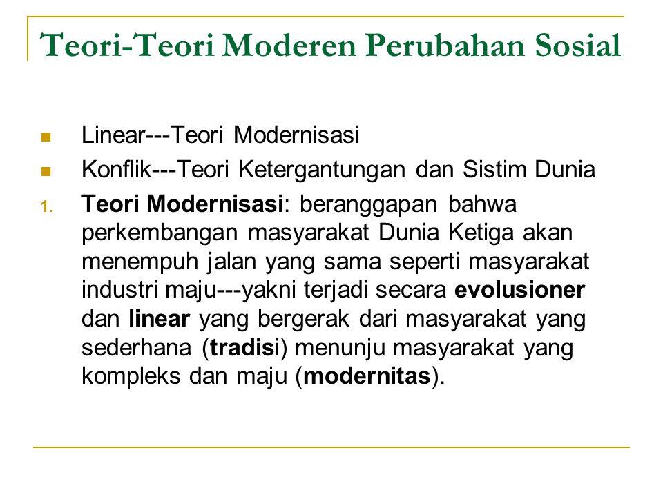Teori-Teori Moderen Perubahan Sosial Linear---Teori Modernisasi Konflik---Teori Ketergantungan dan Sistim Dunia 1. Teori Modernisasi: beranggapan bahw