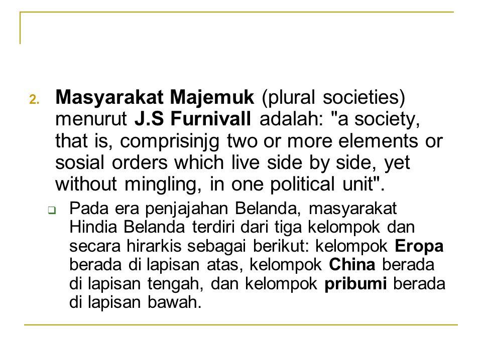 2. Masyarakat Majemuk (plural societies) menurut J.S Furnivall adalah: