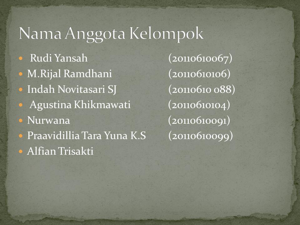 Rudi Yansah (20110610067) M.Rijal Ramdhani (20110610106) Indah Novitasari SJ (20110610 088) Agustina Khikmawati (20110610104) Nurwana (20110610091) Praavidillia Tara Yuna K.S (20110610099) Alfian Trisakti