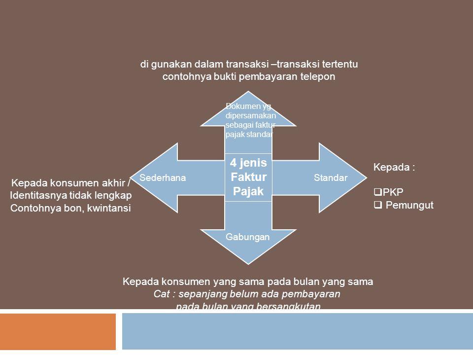 4 jenis Faktur Pajak SederhanaStandar Gabungan Dokumen yg dipersamakan sebagai faktur pajak standar Kepada konsumen akhir / Identitasnya tidak lengkap