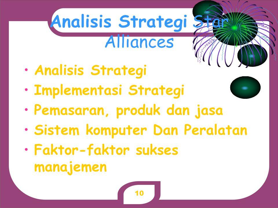 Analisis Strategi Star Alliances Analisis Strategi Implementasi Strategi Pemasaran, produk dan jasa Sistem komputer Dan Peralatan Faktor-faktor sukses