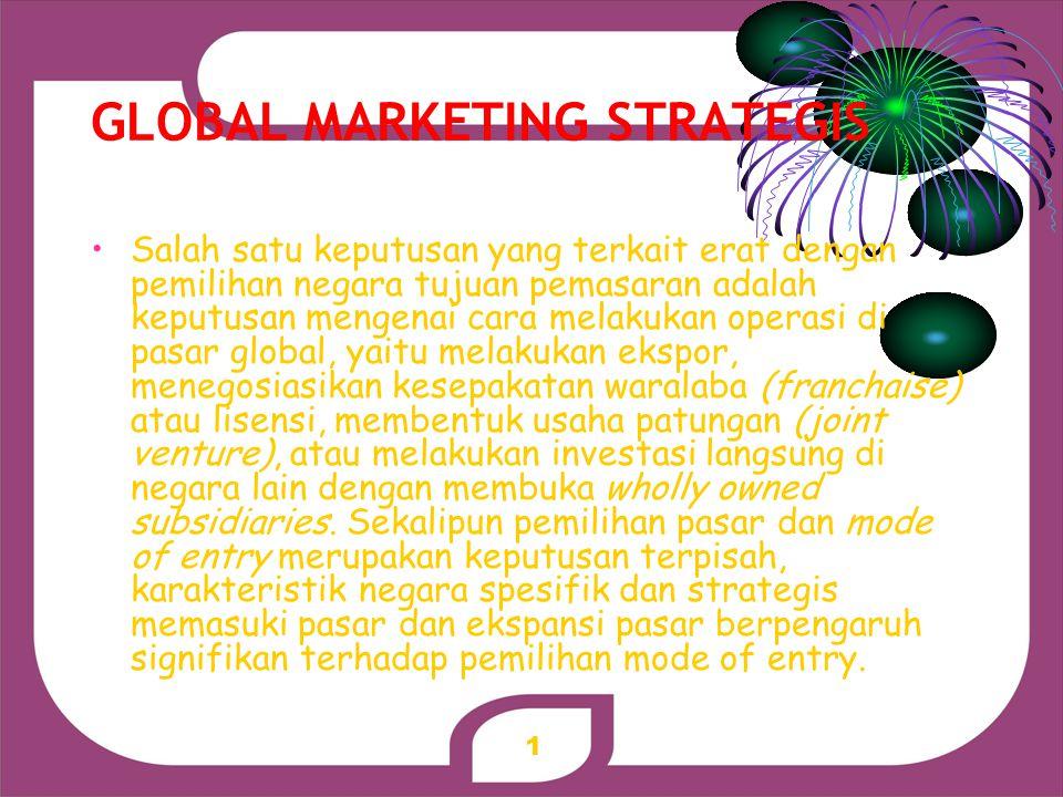 1 GLOBAL MARKETING STRATEGIS Salah satu keputusan yang terkait erat dengan pemilihan negara tujuan pemasaran adalah keputusan mengenai cara melakukan