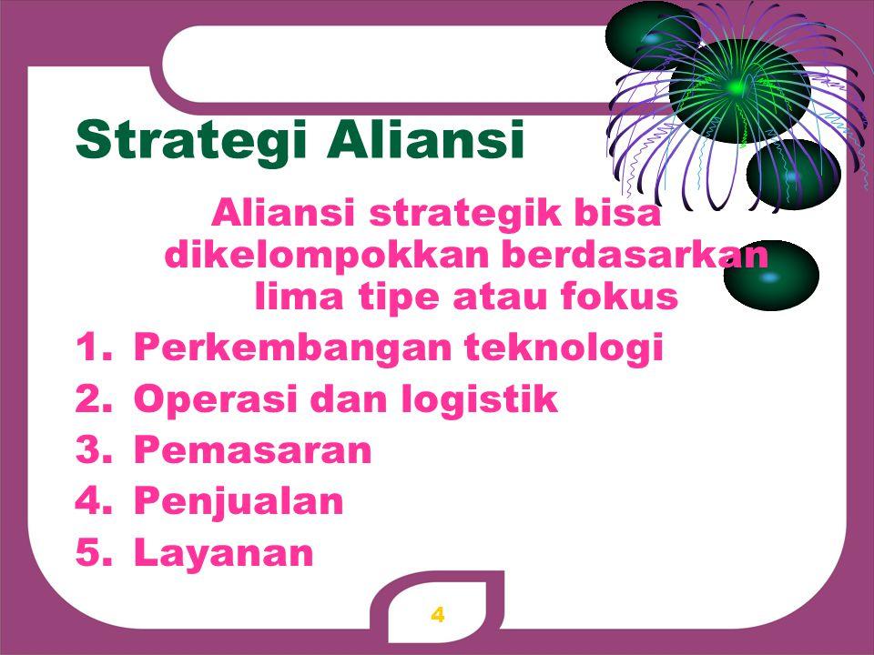 Strategi Aliansi Aliansi strategik bisa dikelompokkan berdasarkan lima tipe atau fokus 1.Perkembangan teknologi 2.Operasi dan logistik 3.Pemasaran 4.P