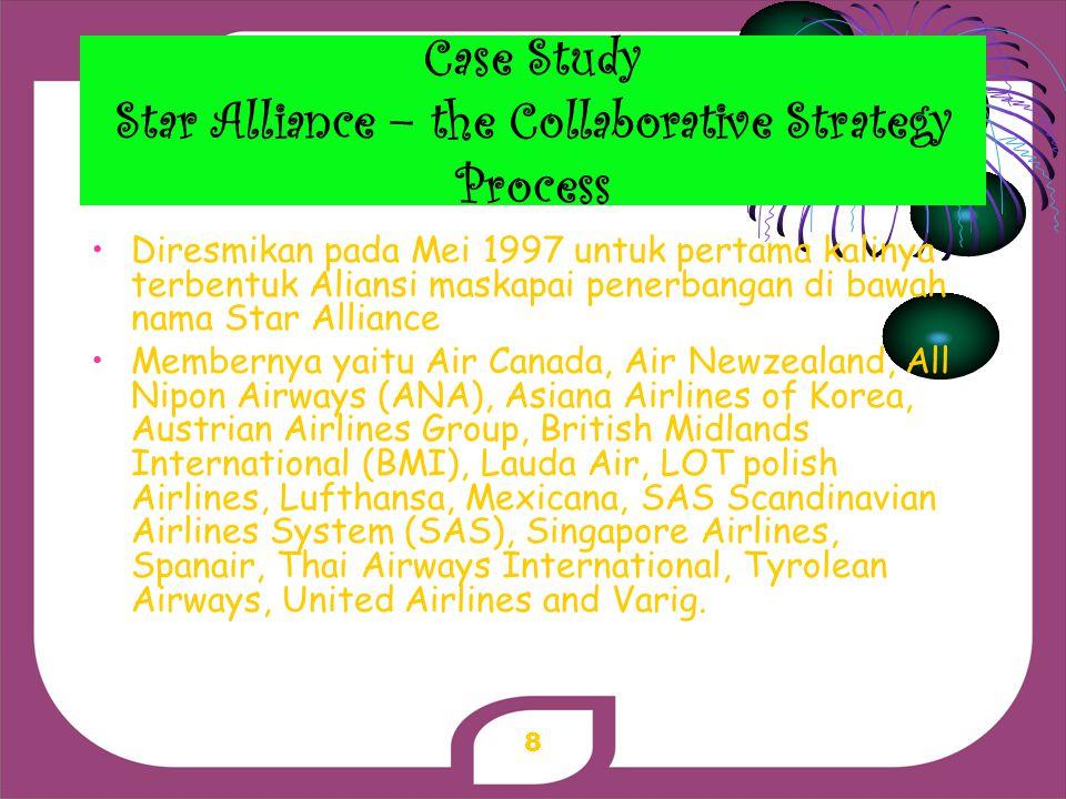 Case Study Star Alliance – the Collaborative Strategy Process Diresmikan pada Mei 1997 untuk pertama kalinya terbentuk Aliansi maskapai penerbangan di