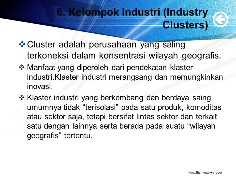 6.Kelompok Industri (Industry Clusters)  Misal : di palembang sentra kerajinan songket ada di Jl.