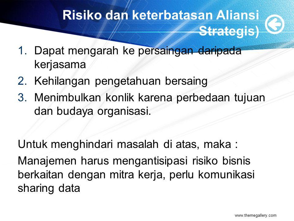Risiko dan keterbatasan Aliansi Strategis) 1.Dapat mengarah ke persaingan daripada kerjasama 2.Kehilangan pengetahuan bersaing 3.Menimbulkan konlik ka
