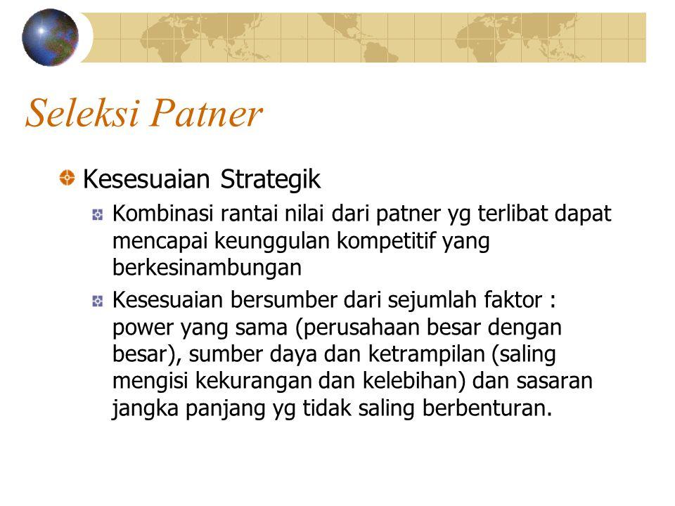 Seleksi Patner Kesesuaian Strategik Kombinasi rantai nilai dari patner yg terlibat dapat mencapai keunggulan kompetitif yang berkesinambungan Kesesuai