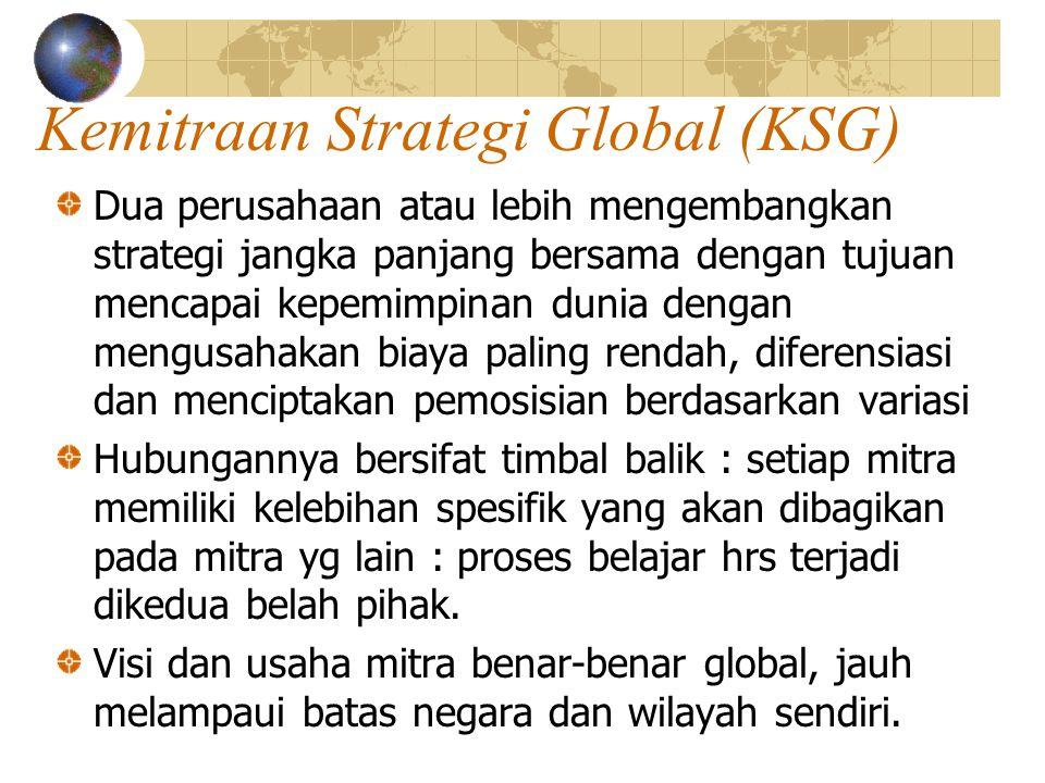 Kemitraan Strategi Global (KSG) Dua perusahaan atau lebih mengembangkan strategi jangka panjang bersama dengan tujuan mencapai kepemimpinan dunia deng