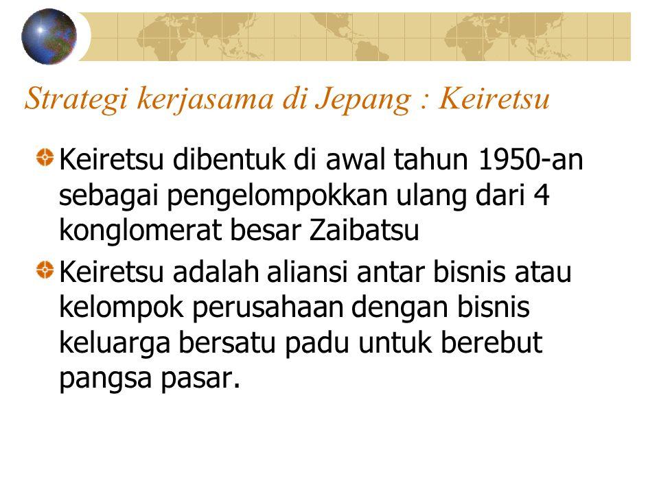 Strategi kerjasama di Jepang : Keiretsu Keiretsu dibentuk di awal tahun 1950-an sebagai pengelompokkan ulang dari 4 konglomerat besar Zaibatsu Keirets
