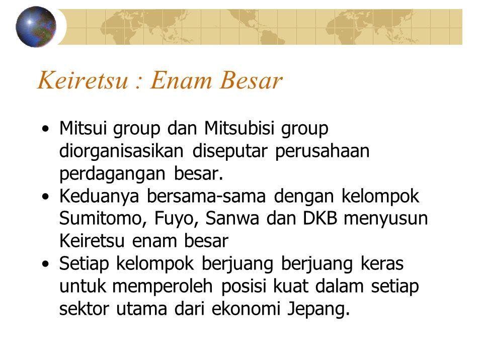 Keiretsu : Enam Besar Mitsui group dan Mitsubisi group diorganisasikan diseputar perusahaan perdagangan besar. Keduanya bersama-sama dengan kelompok S