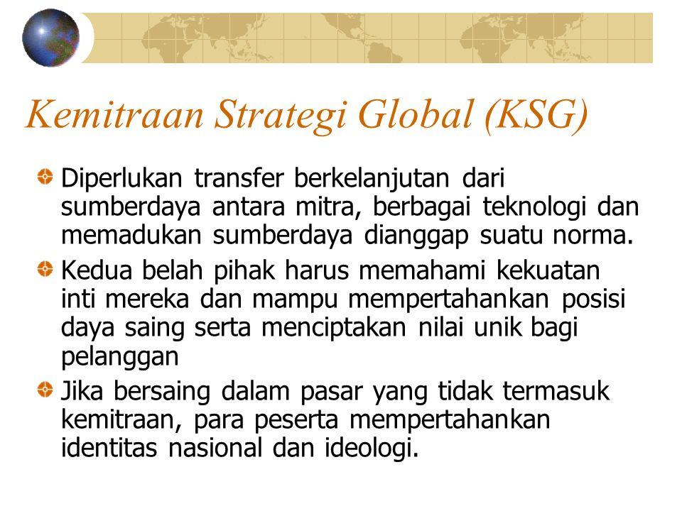 Kemitraan Strategi Global (KSG) Diperlukan transfer berkelanjutan dari sumberdaya antara mitra, berbagai teknologi dan memadukan sumberdaya dianggap s