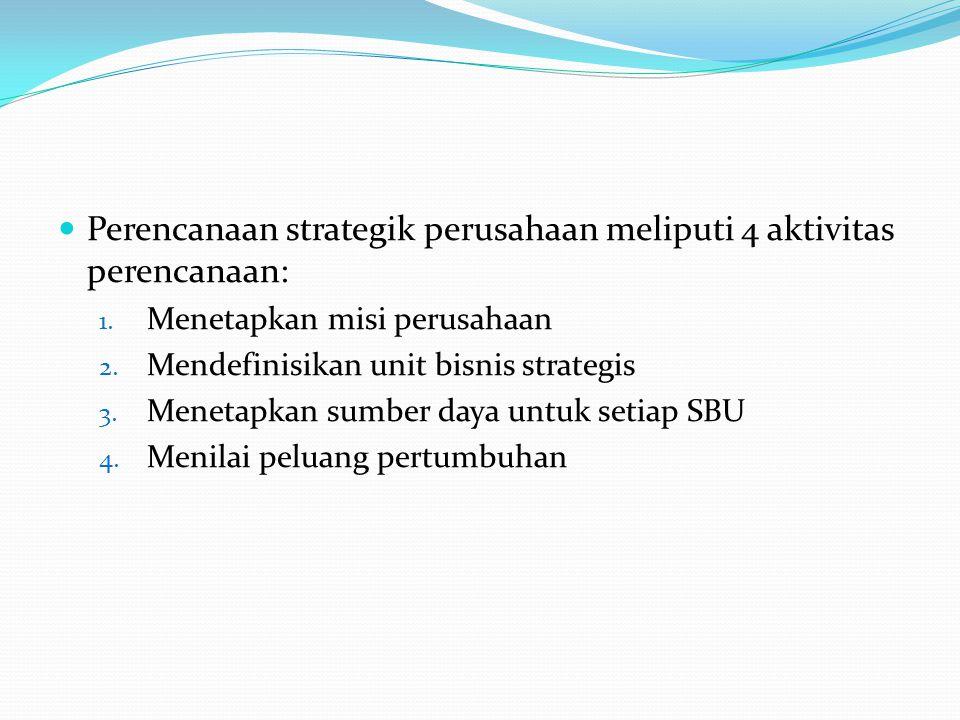 Perencanaan strategik perusahaan meliputi 4 aktivitas perencanaan: 1. Menetapkan misi perusahaan 2. Mendefinisikan unit bisnis strategis 3. Menetapkan