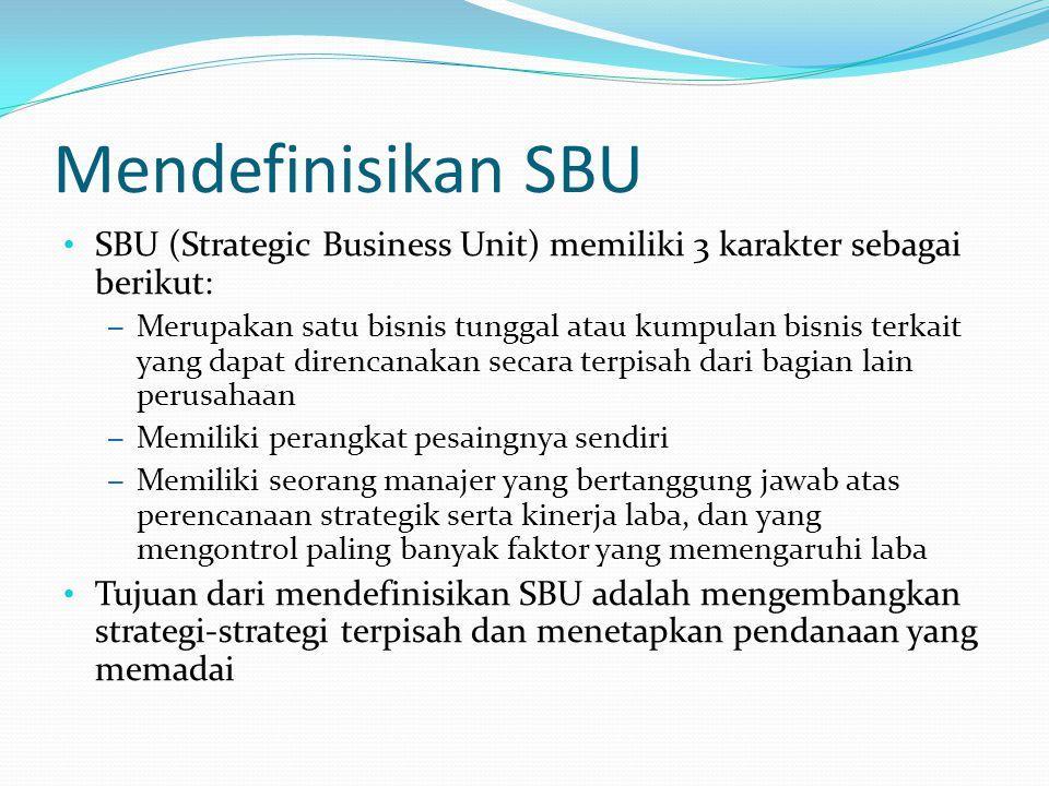 Mendefinisikan SBU SBU (Strategic Business Unit) memiliki 3 karakter sebagai berikut: – Merupakan satu bisnis tunggal atau kumpulan bisnis terkait yan