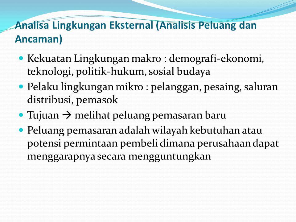 Analisa Lingkungan Eksternal (Analisis Peluang dan Ancaman) Kekuatan Lingkungan makro : demografi-ekonomi, teknologi, politik-hukum, sosial budaya Pel