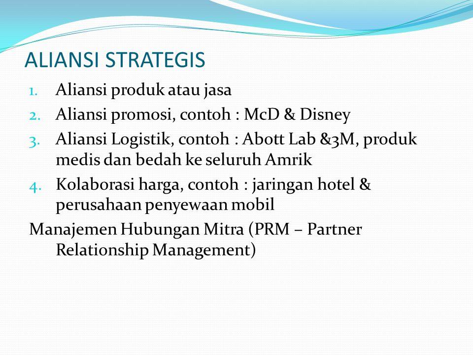 ALIANSI STRATEGIS 1. Aliansi produk atau jasa 2. Aliansi promosi, contoh : McD & Disney 3. Aliansi Logistik, contoh : Abott Lab &3M, produk medis dan