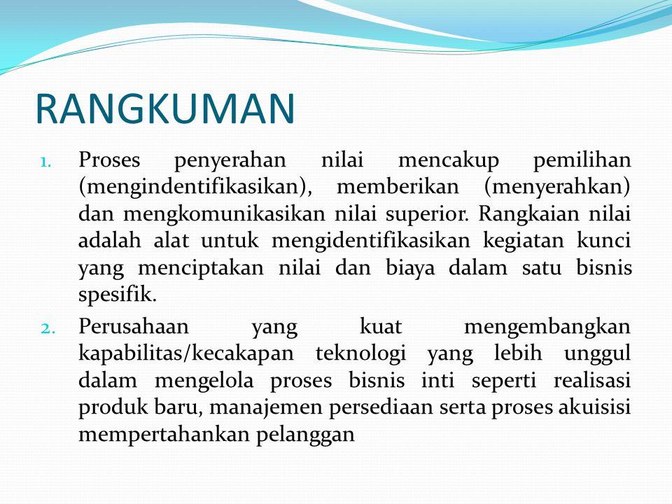 RANGKUMAN 1. Proses penyerahan nilai mencakup pemilihan (mengindentifikasikan), memberikan (menyerahkan) dan mengkomunikasikan nilai superior. Rangkai