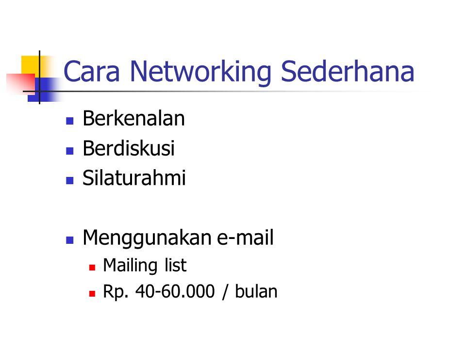 Cara Networking Sederhana Berkenalan Berdiskusi Silaturahmi Menggunakan e-mail Mailing list Rp.