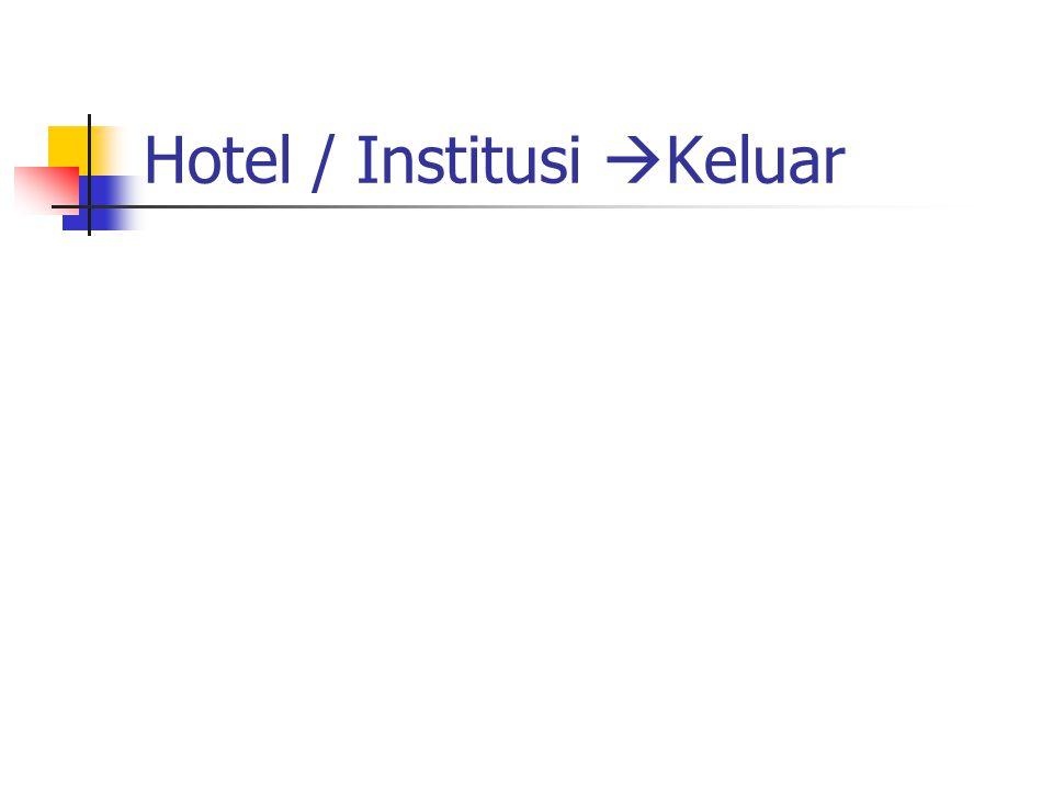 Hotel / Institusi  Keluar