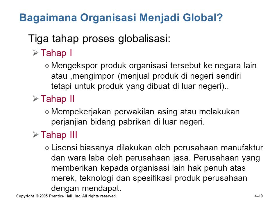 Copyright © 2005 Prentice Hall, Inc. All rights reserved.4–10 Bagaimana Organisasi Menjadi Global.