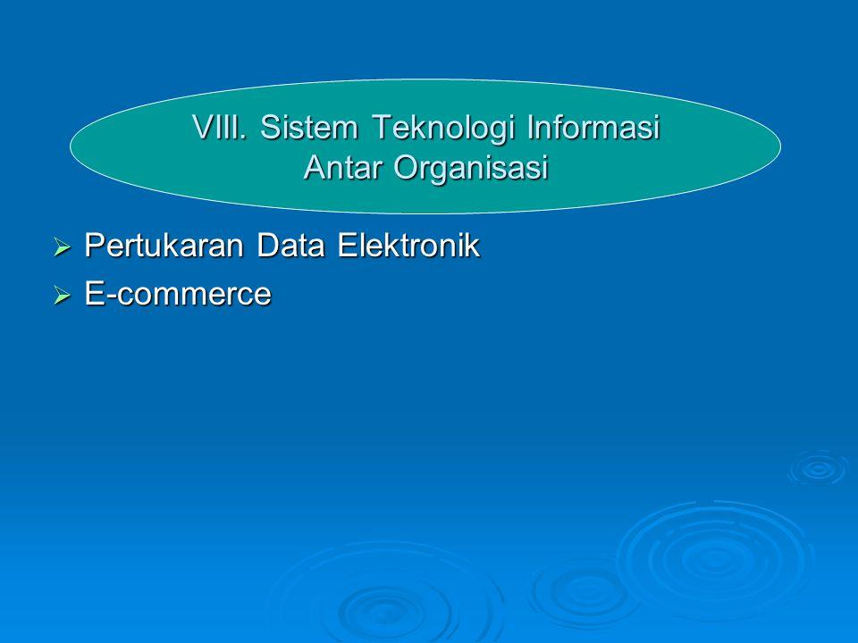 VIII. Sistem Teknologi Informasi Antar Organisasi  Pertukaran Data Elektronik  E-commerce