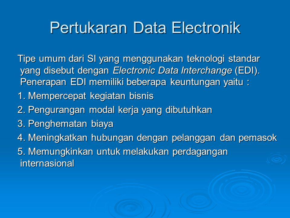 Pertukaran Data Electronik Tipe umum dari SI yang menggunakan teknologi standar yang disebut dengan Electronic Data Interchange (EDI). Penerapan EDI m
