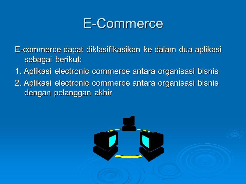 E-Commerce E-commerce dapat diklasifikasikan ke dalam dua aplikasi sebagai berikut: 1. Aplikasi electronic commerce antara organisasi bisnis 2. Aplika