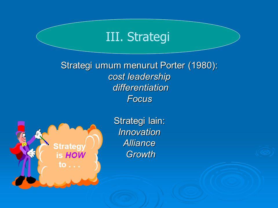 III. Strategi Strategi umum menurut Porter (1980): cost leadership differentiation differentiationFocus Strategi lain: InnovationAlliance Growth Growt