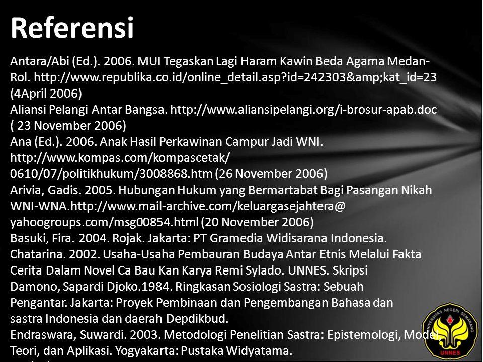 Referensi Antara/Abi (Ed.). 2006. MUI Tegaskan Lagi Haram Kawin Beda Agama Medan- Rol.