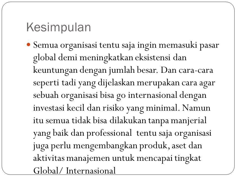 Kesimpulan Semua organisasi tentu saja ingin memasuki pasar global demi meningkatkan eksistensi dan keuntungan dengan jumlah besar.