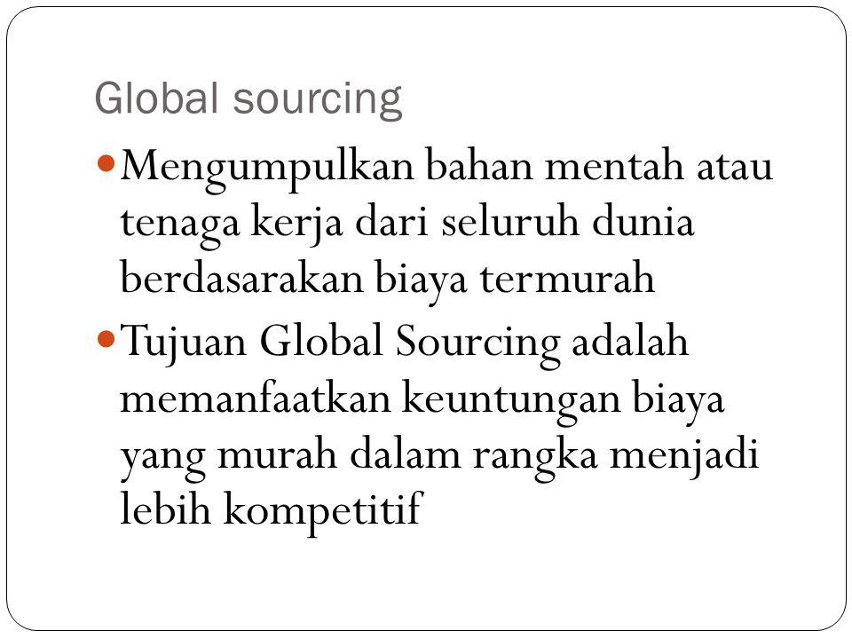 Global sourcing Mengumpulkan bahan mentah atau tenaga kerja dari seluruh dunia berdasarakan biaya termurah Tujuan Global Sourcing adalah memanfaatkan keuntungan biaya yang murah dalam rangka menjadi lebih kompetitif