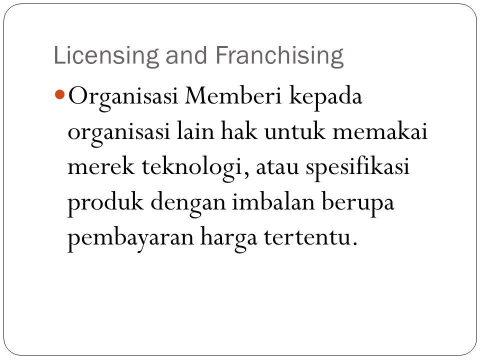Licensing and Franchising Organisasi Memberi kepada organisasi lain hak untuk memakai merek teknologi, atau spesifikasi produk dengan imbalan berupa pembayaran harga tertentu.