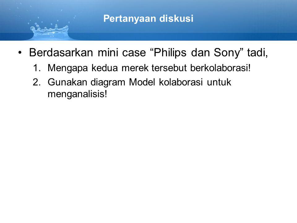 Pertanyaan diskusi Berdasarkan mini case Philips dan Sony tadi, 1.Mengapa kedua merek tersebut berkolaborasi.