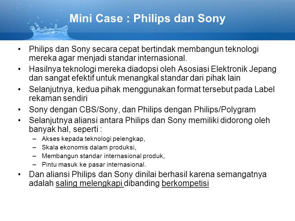 Mini Case : Philips dan Sony Philips dan Sony secara cepat bertindak membangun teknologi mereka agar menjadi standar internasional.
