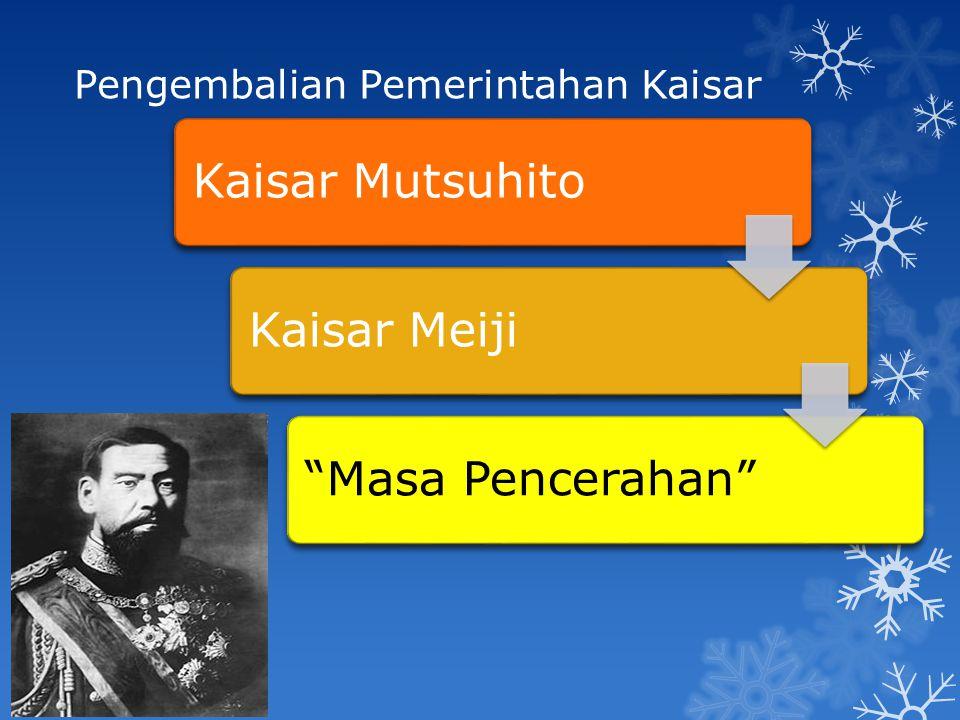 "Pengembalian Pemerintahan Kaisar Kaisar MutsuhitoKaisar Meiji""Masa Pencerahan"""