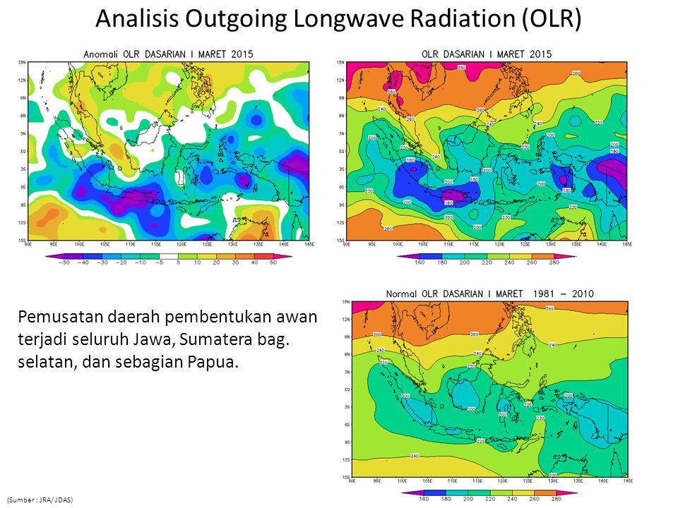 Analisis Outgoing Longwave Radiation (OLR) Pemusatan daerah pembentukan awan terjadi seluruh Jawa, Sumatera bag.